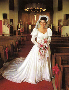 Bride posing in church
